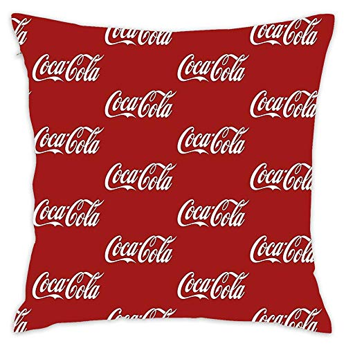Coca Cola Logo Throw Pillow, Home Decor Cotton Pillow Covers Cushion Cover for Sofa Couch 18x18 ()