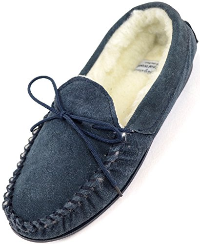 Ladies/Womens Genuine Suede Leather Moccasin/Slippers with Warm Wool Lining - Navy - US 7 (Leather Ladies Genuine Suede)