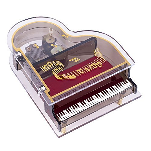 Clear Acrylic Baby Grand Piano Musical Jewelry Box Plays Tune All I Ask of You (Piano Musical Jewelry Box)