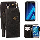 For Samsung Galaxy S4 Wallet Case with Screen Protector ,OYIME [ Elegant Vintage Rose ] Classic Design Flip Bookstyle Leather Holster with Wrist Lanyard Kickstand Magnetic Card Slots Function Full Body Protective Cover - Black