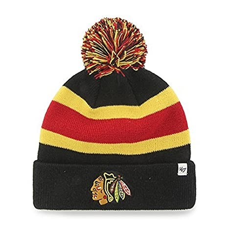 8b166111799 Chicago Blackhawks Black  quot Breakaway quot  Beanie Hat with Pom - NHL  Cuffed Winter Knit