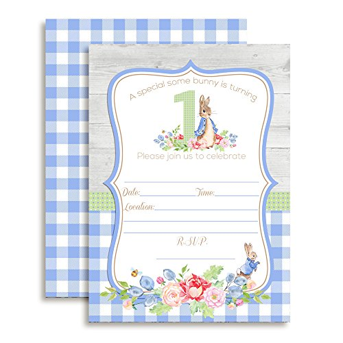 Amanda Creation Little Rabbit 1st Birthday Boy Fill in Style Invitations. Set of 20 Including envelopes (Easter Birthday Party Invitations)