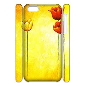 3D Hand Drawn Tulips IPhone 5C Case, Printed Case Iphone 5c Cases for Girls Pharrel {White}
