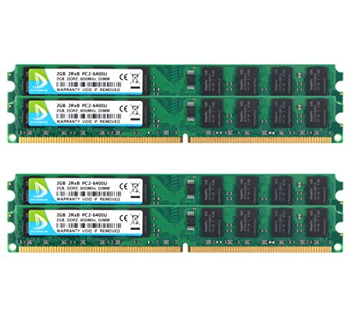 DDR2-800, PC2-6400, DUOMEIQI DDR2 PC2-6400 DDR2 8GB Kit (4x2GB) DDR2 Ram PC2-6300 2Rx8 240 pin CL6 1.8v DDR2 RAM Memory for Desktop Computer RAM