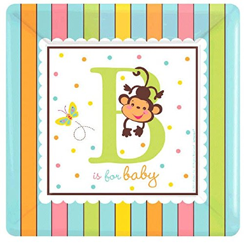 amscan Adorable Fisher Price Baby Shower Party B is for Baby Square Dessert Plates Tableware, Paper, 7