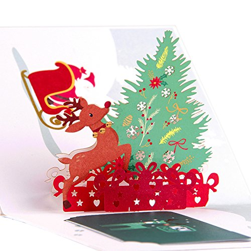 Paper Spiritz Upgrated Christmas Tree Pop Up Merry Christmas Card - Handmade Holiday Happy New Year Greeting Card- Including Unique Note Card and Envelope - Laser Cut and Color Printing Papercraft (Christmas Cards Printing)