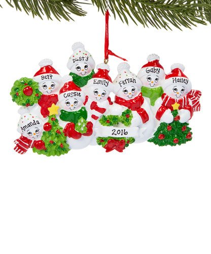 Christmas Ornaments With Names On Them.Family Of 8 Snowmen Personalized Christmas Tree Ornament