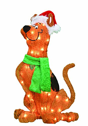 ProductWorks 24-Inch Pre-Lit Scooby Doo with Santa Hat Christmas Yard Decoration, 35 Lights