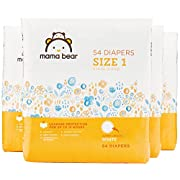 Amazon Brand - Mama Bear Diapers Size 1, 216 Count, White Print (4 packs of 54)