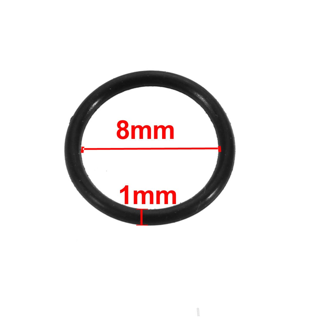 Nitril Butadien Kautschuk NBR O-Ring 8mm Innendurchmesser 1mm Schwarz de sourcing map 50stk
