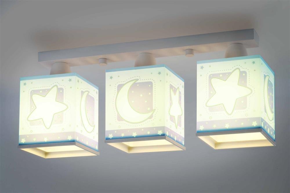 Kinderzimmer-Lampe Sterne Mond Decken-Lampe 63233t mit LED RGB-CCT 1100 Lumen Nacht-Leuchtend Blau Jungen