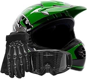 Youth Offroad Gear Combo Helmet Gloves Goggles DOT Motocross ATV Dirt Bike Motorcycle Green Black, Large