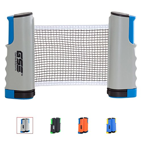 GSE Games & Sports Expert Anywhere Retractable Table Tennis Net and Post. Adjustable Replacement Ping Pong Net (4 Colors) (Gray)