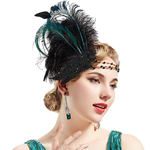 BABEYOND Art Deco 1920s Flapper Headpiece Roaring 20s Great Gatsby Feather Headband 1920s Flapper Gatsby Accessories (Black) ()
