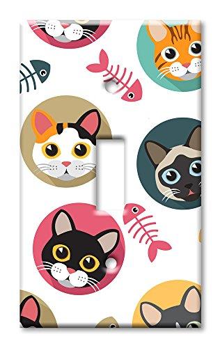 - Art Plates Brand Single Toggle Switch / Wall Plate - Cat Heads