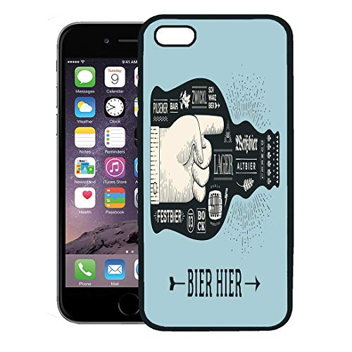 Semtomn Phone Case for iPhone Xs case,Bottle of Beer Lettering and Text Bier Hier for Oktoberfest Festival Vintage Drawing Bar Pub Themes Black iPhone 7 Plus case Cover,Black ()