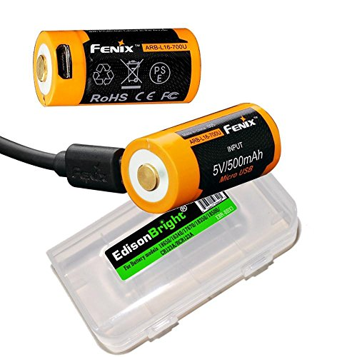 2 Pack Fenix ARB-L16-700U 700mAh direct USB rechargeable 16340 (RCR123) Li-ion (built-in charging circuit) batteries with Edisonbright BBX3 battery case