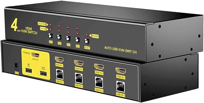 AVMTON-HDMI KVM Switch 4 Port, 4K@30Hz apoya, 4 en 1 out ...
