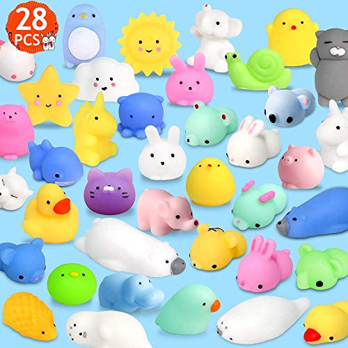 FLY2SKY 28pcs Mochi Squishy Toys Mini Squishies Kawaii Animal Squishys Party Favors Easter Egg Fillers Easter Gifts for kids Unicorn Cat Panda Animal Squeeze Toy Stress Relief Toy Class Prize, Random ()