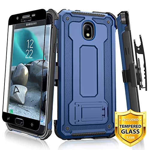 TJS Case for Samsung Galaxy J7 2018/J7 Refine/J7 Star/J7 Eon/J7 TOP/J7 Aero/J7 Crown/J7 Aura/J7 V 2nd Gen Case, [Full Coverage Tempered Glass Screen Protector] 360° Belt Clip Holster Kickstand ()