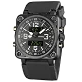 INFANTRY Mens Big Face Tactical Military Analog Digital Sport Wrist Watch, Black Silicone