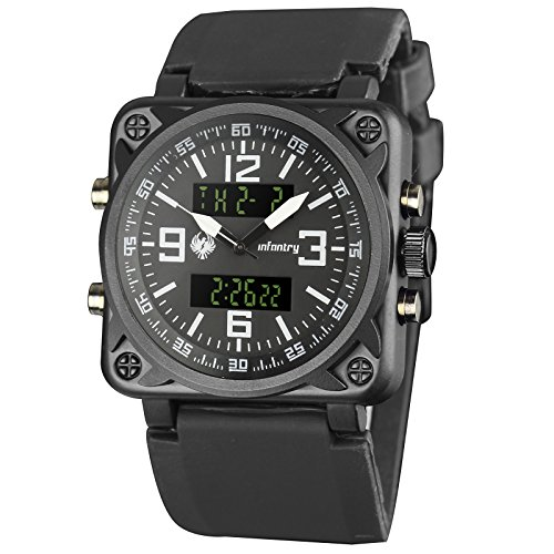 Infantry Big Face Mens Tactical Military Watch Large Black