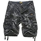 EAGLIDE Men's Twill Loose Fit Athletic Camouflage Cotton Pockets Cargo Shorts (Black, 36)