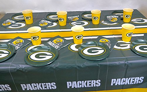 Green Bay Packers Dad's Birthday party 49 pieces set, Tablecloth,16 plate, 16 napkins, and large plastic 16 cups. ()