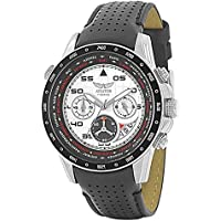 AVIATOR Chronograph Wrist Watch – Aviators Watch for Men – Leather Strap Stainless Steel Wristwatch – Waterproof White Dial Watch – Sport and Casual Comfortable Wrist Watch AVW7770G58