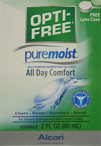 Lens Solution Contact Alcon (OPTI-FREE Pure Moist Multi-Purpose Disinfecting Solution, All Day Comfort 2 oz (Pack of 3))