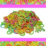 Glow in The Dark Rubber Band Refill KIT Color 600 pc + 25 S Clip Loom Bracelet