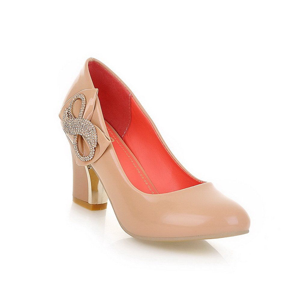 WeenFashion Women's Closed Round Toe High Heel Micro Fiber Solid Pumps whith Bowknot and Glass Diamond, Apricot, 10 B(M) US