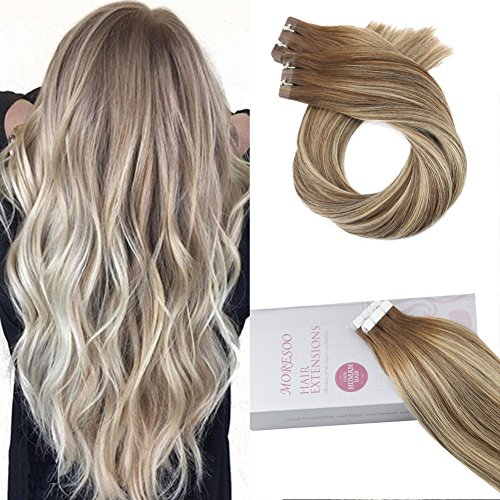 Moresoo Glue in Human Hair Extensions Brazilian Remy Hair Tape in Hair 18inch 20PCS 50G Tape in Hair Extensions Human Hair Balayage Color #8 Brown Ombre #22 Blonde Mixed #8 Skin Weft Extensions