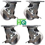 CasterHQ - 5'' x 2'' - Steel Swivel Casters with Brakes - Set of 4 - 4,000 lbs Per Set of 4