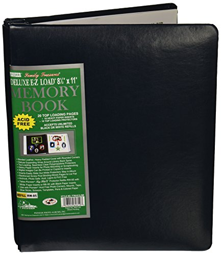 (Pioneer Photo Albums 20-Page Family Treasures Deluxe Navy Blue Bonded Leather Cover Scrapbook for 8.5 x 11-Inch Pages)