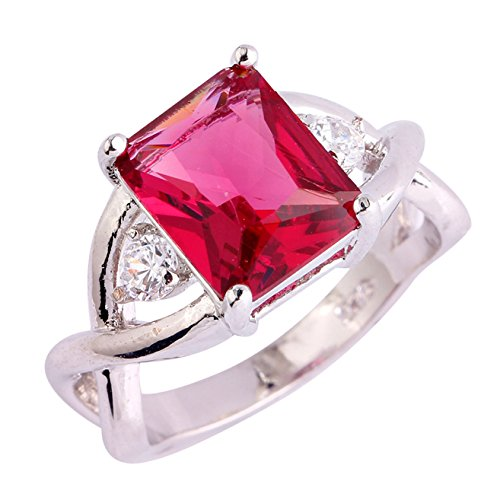 - Emsione 925 Silver Plated Created Radiant Ruby Spinel Womens Ring