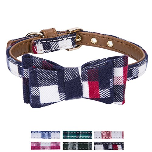StrawberryEC Extra Small Dog and Cat Collar with Cute Plaid Bowtie. Adjustable 5 Holes to Also Fit Puppy and Kitten. Quality PU Leather and Durable Polyester (Bowtie-Navy Blue White Red Plaid)