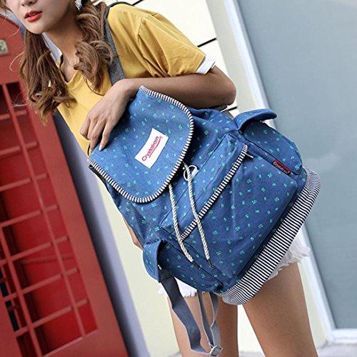 Sunshinehomely Women Girls Denim Drawstring Backpack Leisure Student Schoolbag Large Capacity Double Shoulder Travel Bag by Sunshinehomely (Image #3)