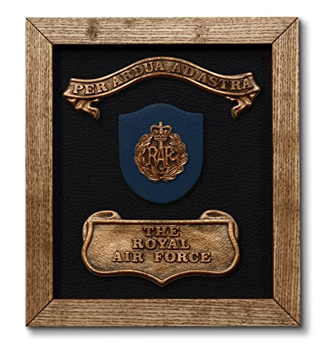 Royal Air Force – solid oak framed RAF Plaque with official badge and motto. British Military Gift / Present / Momento – Kerr Characters - Framed Badge
