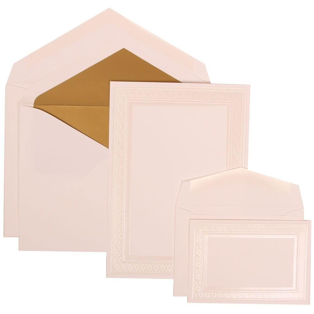 JAM Paper® Wedding Invitation Combo Set - White Card with Gold Lined Envelope with Ivory Embossed Border - 1 Small & 1 Large - 150/pack