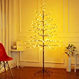 Bolylight LED Cherry Blossom Tree 6ft 208L & Indoor and Outdoor Decoration Lighted Tree for Bedroom/Party/Wedding/Office/Home Warm White