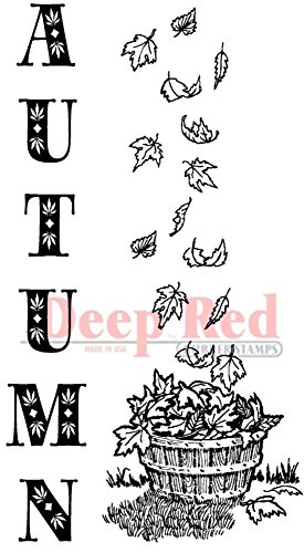 (Deep Red Stamps Autumn Leaves Border Rubber)