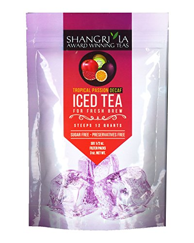 Flower Iced Tea - Shangri La Tea Company Iced Tea, Tropical Passion Decaf, Bag of 6, 1/2 Ounce Pouches (Packaging May Vary)