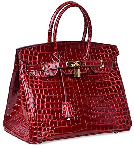 Top Bag Claret Crocodile Women Padlock Handle Leather Handbags 1PFnq