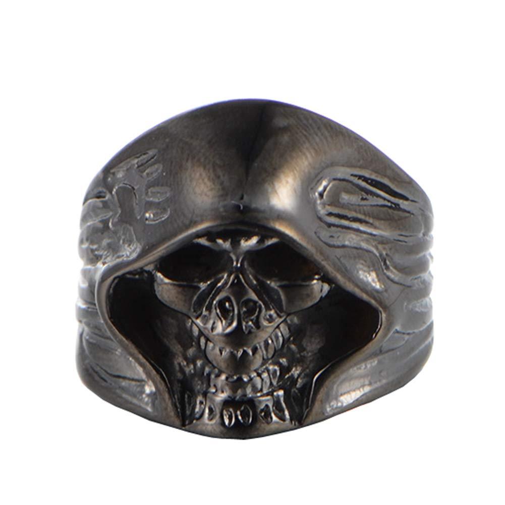 SAINTHERO Men's Large Vintage Biker Gothic Casted Death Grim Reaper Skull Stainless Steel Punk Ring Black Size 7