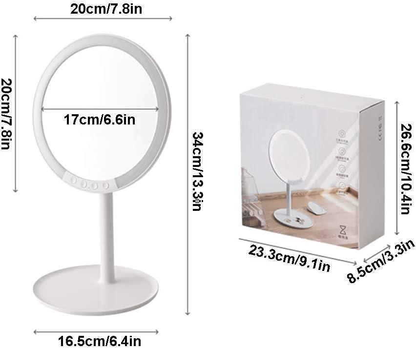 Tisch mit Licht f/üllen Licht Einstellbarer Winkel tragbarer Tisch-Schminkspiegel 7X Lupe CROWNXZQ LED-Schminkspiegel wiederaufladbar wei/ß