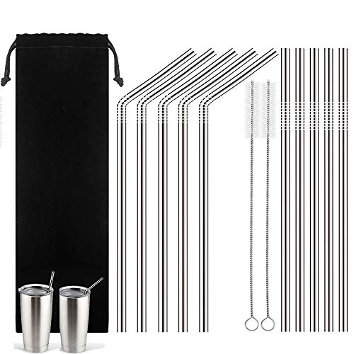 Stainless Steel Drinking Straws - Set of 10 Replacement Long Washable Straws (5 Straight and 5 Bend) Fits for 20 oz Yeti Ramblers Tumbler Cups or Most of Glasses+ 2 Cleaning Brushes