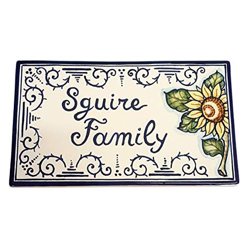 CERAMICHE D'ARTE PARRINI - Italian Ceramic Art Pottery Tile Custom Rectangular Name Family Plaques Hand Painted Made in ITALY Tuscan