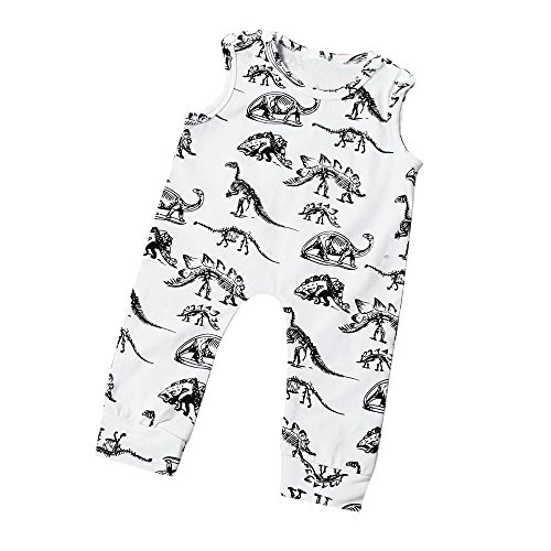 Dinosaur Costume Snow (LUNIWEI Infant Kids Baby Boy Girl Dinosaur Print Jumpsuit Romper Outfits (18-24 Months, White_Romper))