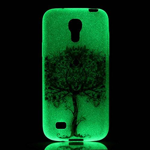 XiaoXiMi Carcasa Samsung Galaxy S4 mini Funda Luminosa de Silicona Caucho Gel para Samsung Galaxy S4 mini Soft TPU Silicone Case Cover Carcasa Protectora Funda Blanda Suave Flexible Caja Delgado Liger Árbol de la Vida